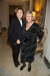 Left to right, DELIA SMITH and ANNA DEL CONTE at a reception in honour of Anna del Conte held at The Italian Emabssy, Grosvenor Square, London on 9th November 2015.