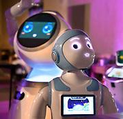 Nederland, Nijmegen, 21-9-2018Innovatiefestival in de Honig. Jonge brderijven, startups, met innovatieve technische producten. Een stand met robots, met name zorgrobots die menselijk overkomen, ook in hun geprogrammeerde gedrag en reacties.Foto: Flip Franssen