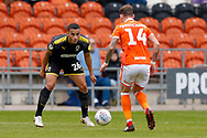 Wimbledon defender Rod McDonald (26) faces up to the attack during the EFL Sky Bet League 1 match between Blackpool and AFC Wimbledon at Bloomfield Road, Blackpool, England on 20 October 2018.
