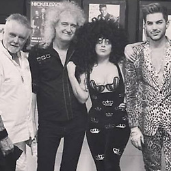 "Adam Lambert releases a photo on Instagram with the following caption: ""@ladygaga @brianmayforreal @rogertaylorofficial #qal #gaga #bohemianrhapsody #astarisborn #queen"". Photo Credit: Instagram *** No USA Distribution *** For Editorial Use Only *** Not to be Published in Books or Photo Books ***  Please note: Fees charged by the agency are for the agency's services only, and do not, nor are they intended to, convey to the user any ownership of Copyright or License in the material. The agency does not claim any ownership including but not limited to Copyright or License in the attached material. By publishing this material you expressly agree to indemnify and to hold the agency and its directors, shareholders and employees harmless from any loss, claims, damages, demands, expenses (including legal fees), or any causes of action or allegation against the agency arising out of or connected in any way with publication of the material."