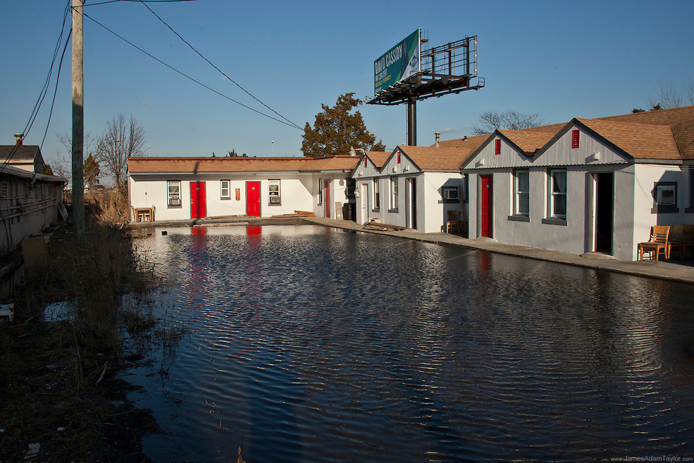 Clogged Storm Drains create a flooded parking lot at this West Atlantic City motel.