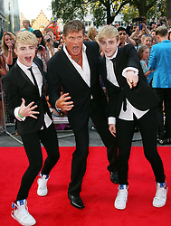 David Hasselhof and Jedward  arriving for the premiere of Keith Lemon The Film in London, Monday, 20th August 2012. Photo by: Stephen Lock / i-Images