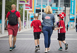 © Licensed to London News Pictures. 07/07/2021. London, UK. A family of Denmark fans outside Wembley Stadium ahead of the Euro 2020 semi final between England and Denmark. England are attempting to reach their first final since 1966. Photo credit: Ben Cawthra/LNP