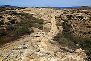Defensive walls Los Millares prehistoric settlement, Almeria, Spain
