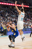 Real Madrid Facundo Campazzo and Khimki Moscow Stefan Markovic during Turkish Airlines Euroleague match between Real Madrid and Khimki Moscow at Wizink Center in Madrid, Spain. November 02, 2017. (ALTERPHOTOS/Borja B.Hojas)