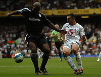 Photo: Tony Oudot.<br /> Tottenham Hotspur v Derby County. The FA Barclays Premiership. 18/08/2007.<br /> two goalscorer Steed Malbranque goes past Darren Moore of Derby County