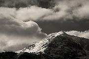 Snow & ice cover the ridges of Yr Wyddfa (Snowdon) Wales' highest peak.