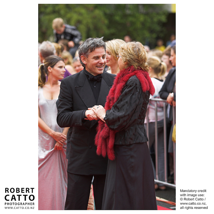 Director Vincent Ward greets Gaylene Preston at the premiere of the film River Queen in Wanganui, New Zealand.