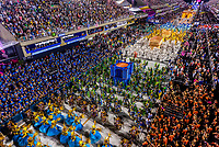 Carnaval parade of Unidos da Tijuca samba school in the Sambadrome, Rio de Janeiro, Brazil.