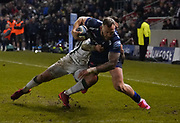 Sale Sharks Byron McGuigan runs in to score a late trymduring a Gallagher Premiership Rugby Union match won by Sharks 39-0, Friday, Mar. 6, 2020, in Eccles, United Kingdom. (Steve Flynn/Image of Sport)