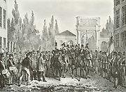 On 25 August 1830, at the Théâtre Royal de la Monnaie in Brussels, an uprising followed a special performance (in honour of William I's birthday) Prince William, Prince of Orange, (later William II of Holland) was sent with Dutch troops by his father to try to quell the riots. Shown entering Brussels in 1831