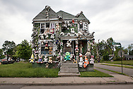 The Party Animal House, part of the Heidelberg Project, a folk art instaltion taking up over two city blocks in Detroit started by artist Tyree Guyton. The Party Animal House was destroyed by a fire presumed to be arson in March, 2014.