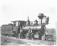 """RGS 2-8-0 #12 with crew.  Engineer is Bill Sowers, fireman is Sam Davis.<br /> RGS  Ridgway, CO  Taken by Carlson, Emil - 1902<br /> In book """"Silver San Juan: The Rio Grande Southern"""" page 132<br /> Also in """"Narrow Gauge Country"""", p. 181; """"RGS Story Vol. I"""", p. 54 (dated 1900) and """"RGS Story Vol. X, p. 2 (enlarged)."""