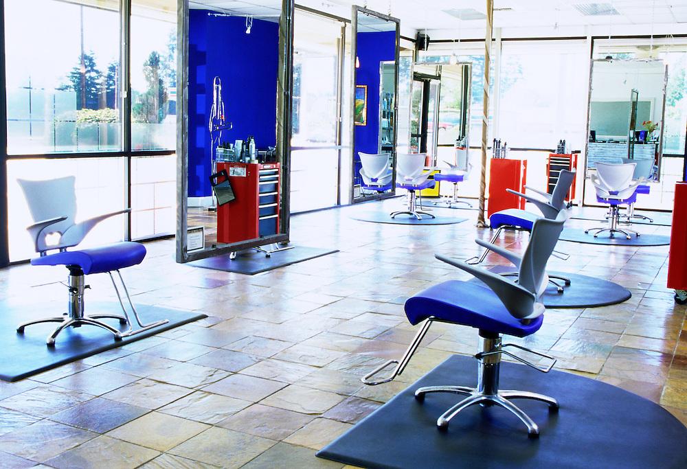 An interior of a hair / beauty salon.