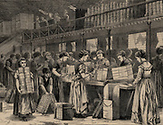 Women and girls and a young boy at work in Bryant & May's match factory, Fairfield Road, Bow, London. From 'The Illustrated London News' (London, 1871).  Engraving.