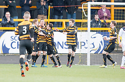 Alloa Athletic's Edward Ferns (12) cele scoring their first goal.<br /> Alloa Athletic 3 v 0 Falkirk, Scottish Championship game played today at Alloa Athletic's home ground, Recreation Park.<br /> © Michael Schofield.
