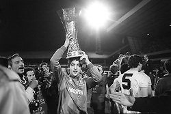 File photo dated 23-05-1984 of Tottenham Hotspur's goalkeeper Tony Parks with the UEFA Cup trophy at White Hart Lane in London.