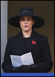 November 10, 2019, London, England, United Kingdom: MEGHAN, Duchess of Sussex, sings a hymn during the National Service of Remembrance at the Cenotaph in Westminster. (Credit Image: © Andrew Parsons/i-Images via ZUMA Press)