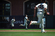 San Francisco Giants second baseman Kelby Tomlinson (37) chases down a Los Angeles Dodgers pop-fly at AT&T Park in San Francisco, California, on April 27, 2017. (Stan Olszewski/Special to S.F. Examiner)