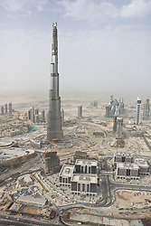 Burj Dubai skyscraper under construction in Dubai, United Arab Emirates, in 2008. Construction of the tallest man-made structure on Earth began on September 21, 2004