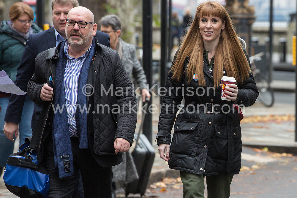 London, UK. 16 November, 2019. Angela Rayner, Shadow Education Secretary, arrives at Labour's Clause V meeting. The Clause V meeting, chaired by the party leader and attended by members of the National Executive Committee (NEC), relevant Shadow Cabinet members and members of the National Policy Forum, will finalise the party's general election manifesto. The meeting is named after Clause V of the Labour Party rulebook.