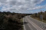 MERTHYR TYDFIL, WALES - 29 MARCH 2020 - An empty A470 road during the coronavirus / Covid 19 lockdown, Merthyr Tydfil, Wales.