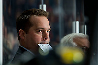 KELOWNA, BC - FEBRUARY 8: Portland Winterhawks' Associate Coach and Asst. GM, Kyle Gustafson, stands on the bench during first period at the Kelowna Rockets at Prospera Place on February 8, 2020 in Kelowna, Canada. (Photo by Marissa Baecker/Shoot the Breeze)