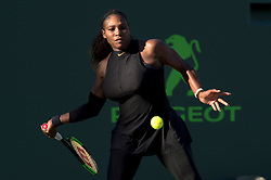 March 21, 2018 - Key Biscayne, FL, U.S. - KEY BISCAYNE, FL - MARCH 21: Serena Williams (USA) in action during her loss in the Miami Open on March 21, 2018, at the Tennis Center at Crandon Park in Key Biscayne, FL. (Photo by Andrew Patron/Icon Sportswire) (Credit Image: © Andrew Patron/Icon SMI via ZUMA Press)