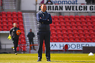 Derek Adams of Plymouth Argyle (Manager) watching his players warming up during the EFL Sky Bet League 1 match between Doncaster Rovers and Plymouth Argyle at the Keepmoat Stadium, Doncaster, England on 13 April 2019.