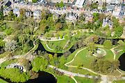 Nederland, Noord-Holland, Amsterdam, 09-04-2014; Amsterdam-Zuid,  Vondelpark met het Blauwe Theehuis.<br /> Vondel park, Amsterdam South.<br /> luchtfoto (toeslag op standard tarieven);<br /> aerial photo (additional fee required);<br /> copyright foto/photo Siebe Swart