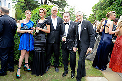 Left to right, TIPHAINE CHAPMAN, SAFFRON ALDRIDGE, DINOS CHAPMAN, DAVID FURNISH and PATRICK COX at the Raisa Gorbachev Foundation Party held at Stud House, Hampton Court Palace on 5th June 2010.  The night is in aid of the Raisa Gorbachev Foundation, an international fund fighting child cancer.