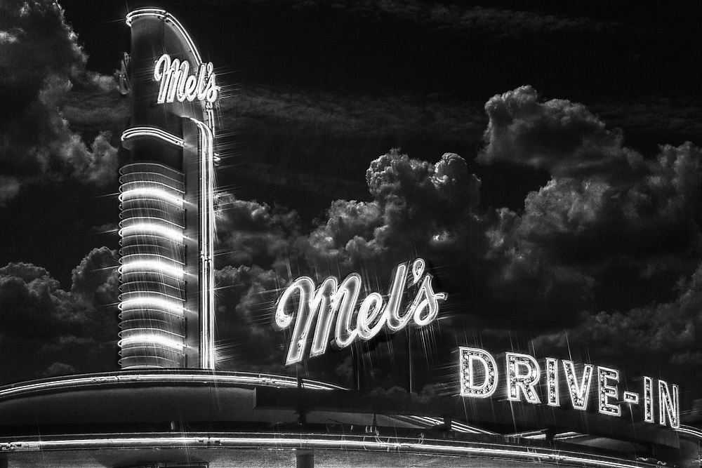 A moody midnight shot with a slightly ominous feel at Mel's Drive-In in Universal Studios Florida.