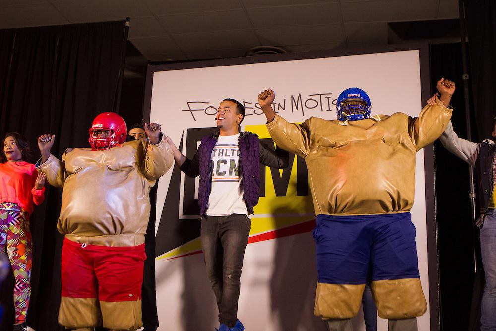 Teachers Ernest Caldwelland Henie Parrilon perform as stage as Honeywell and NASA bring hip-hop physics educational series to the Quitman Street Community School in Newark. <br /> <br /> 3/19/2015 Photo by John O'Boyle<br /> www.johnoboylevisuals.com<br /> john@johnoboyle.com