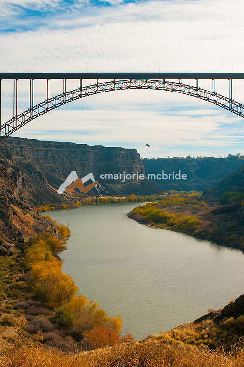 Base jumper jumping from the Perrine Bridge over the Snake River in Twin Falls, Idaho.