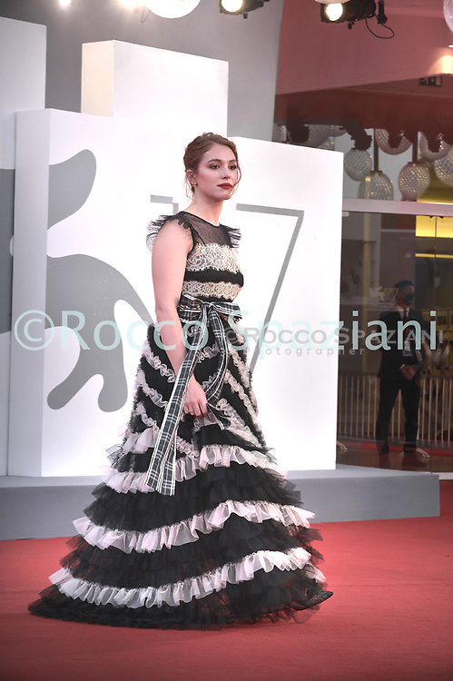 """VENICE, ITALY - SEPTEMBER 10: Ludovica Martino  walks the red carpet ahead of the movie """"Nuevo Orden"""" (New Order) at the 77th Venice Film Festival on September 10, 2020 in Venice, Italy.<br /> (Photo by Rocco Spaziani)"""