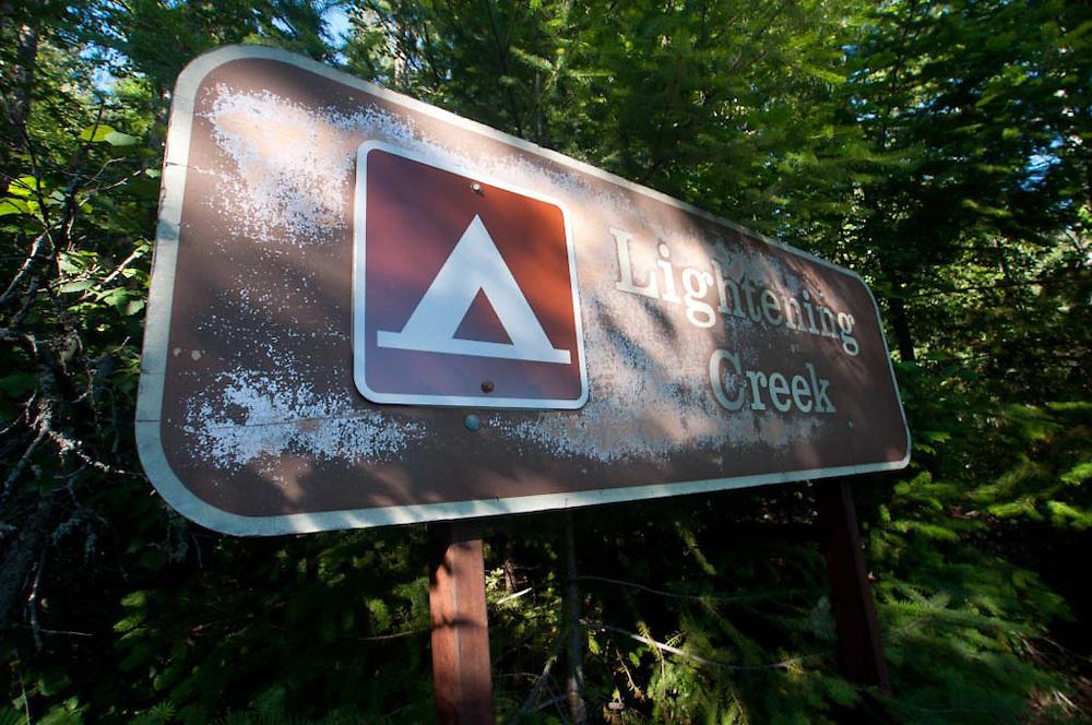 Lightening Creek Campsite Sign, Ross Lake National Recreation Area, North Cascades National Park, Washington, US