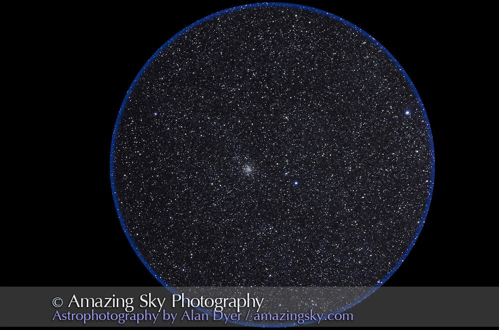 M71 open cluster in Sagitta with small cluster Harvard 20 below. Taken Nov 6, 2010 with 105mm A&M apo refractor at f/5 with Borg .85x flattener/reducer and Canon 5DMkII at ISO 800 for stack of 5 x 13 minute exposures, Mean combined. Used Celestron CGEM mount and Sky-Watcher SynGuider on William Optics 66mm guidescope. All seemed to work well.