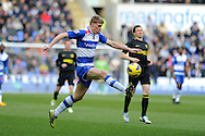 Reading's Pavel Pogrebnyak makes a break. Barclays Premier league, Reading v Wigan Athletic at the Madejski Stadium in Reading on Saturday 23rd Feb 2013. pic by Andrew Orchard, Andrew Orchard sports photography,