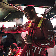 Leg 7 from Auckland to Itajai, day 08 on board MAPFRE, Blair Tuke exausted after a gybe and a peeling without having sleep too much in the las 2 days. 24 March, 2018.