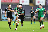 Josh Matavesi  of the Ospreys © makes a break.  Guinness Pro12 rugby match, Ospreys v Connacht rugby at the Liberty Stadium in Swansea, South Wales on Saturday 7th January 2017.<br /> pic by Andrew Orchard, Andrew Orchard sports photography.