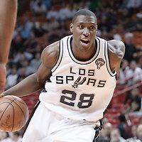 16 March 2010: San Antonio Spurs center Ian Mahinmi drives to the basket during the San Antonio Spurs 88-76 victory over the Miami Heat at the AmericanAirlines  Arena, in Miami, Florida, USA.