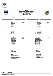 TALLINN, ESTONIA - Monday, October 11, 2021: The official team-sheet for the FIFA World Cup Qatar 2022 Qualifying Group E match between Estonia and Wales at the A. Le Coq Arena. Wales won 1-0. (Pic by David Rawcliffe/Propaganda)
