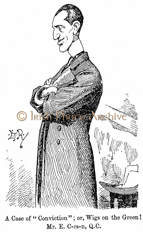 Edward Carson (1854-1935) Irish-born British politician and jurist. Opposed Home Rule for Ireland. Leader of Irish Unionists. Cartoon from 'Punch' London 9 July 1898