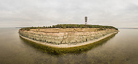 Panoramic aerial view of cliff on the coast in Estonia