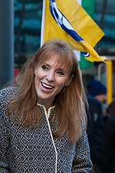 London, UK. 22nd January, 2019. Shadow Education Secretary Angela Rayner shows solidarity for support staff at the BEIS represented by the Public and Commercial Services (PCS) union on the picket line after beginning a strike for the London Living Wage of £10.55 per hour and parity of sick pay and annual leave allowance with civil servants. The strike is being coordinated with receptionists, security staff and cleaners at the Ministry of Justice (MoJ) represented by the United Voices of the World (UVW) trade union.