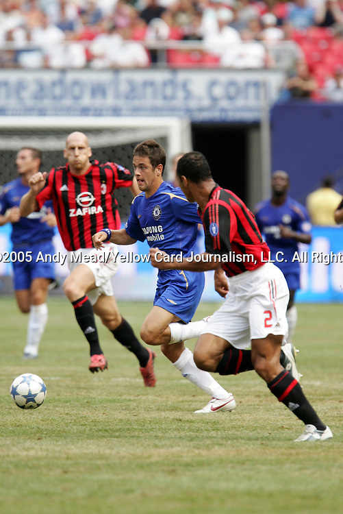 31 July 2005: Joe Cole (center) cuts between Cafu (2) and Japp Stam (behind). Chelsea FC of England and AC Milan of Spain tied 1-1 at Giants Stadium in East Rutherford, New Jersey in an international friendly soccer match as part of AEG's 2005 World Series of Football. .