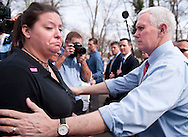 22 FEB. 2017 -- UNIVERSITY CITY, Mo. -- US Vice President Mike Pence comforts Rachel Roth during a visit to Chesed Shel Emeth Cemetery in University City, Mo., Feb. 22, 2017. According to cemetery management 154 headstones were knocked over and damaged by vandals during the previous weekend at the 124-year-old Jewish cemetery. An online fundraising project organized by area Muslims to help pay for repairs reached its goal of $20,000 in three hours and has reportedly more than tripled that amount. <br /> <br /> Photo by Sid Hastings.