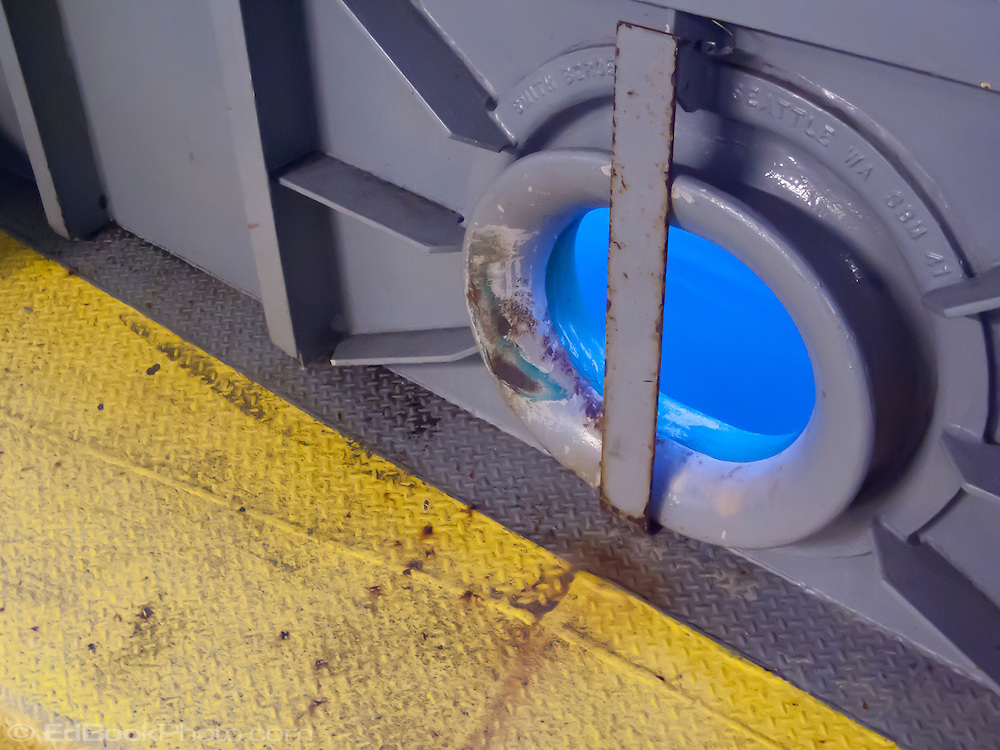 Hawse hole on a Washington state DOT ferry on Puget Sound, also known as a cat hole or hawse