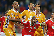 Ashley Williams of Wales keeps his eye on the ball during a corner. Wales v Moldova , FIFA World Cup qualifier at the Cardiff city Stadium in Cardiff on Monday 5th Sept 2016. pic by Andrew Orchard, Andrew Orchard sports photography