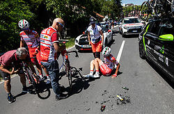 Andrea Vendrame (ITA) of Androni Giocattoli - Sidermec and Matteo Spreafico (ITA) of Androni Giocattoli - Sidermec in crash during 2nd Stage of 26th Tour of Slovenia 2019 cycling race between Maribor and Celje (146,3 km), on June 20, 2019 in  Slovenia. Photo by Vid Ponikvar / Sportida
